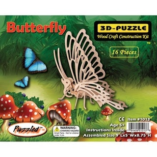 """Jigsaw 3D Puzzle 16 Pieces 9""""X5""""X8.75""""-Butterfly"""