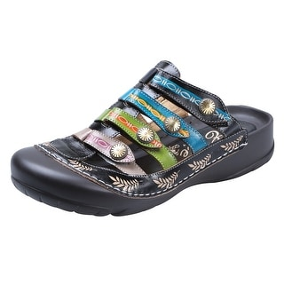 Women's Strappy Clog Sandals - Hand Painted Leather Uppers