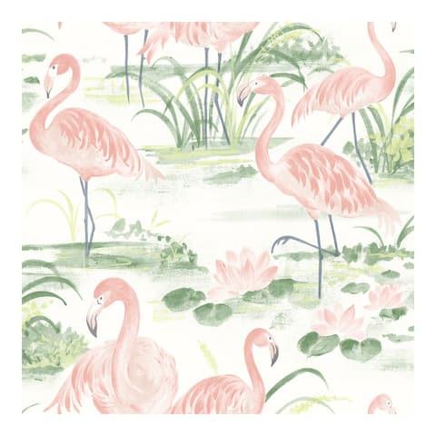 Everglades Coral Flamingos Wallpaper - 20.5 x 396 x 0.025