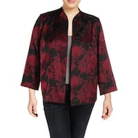 Alex Evenings Womens Plus Collarless Blazer Shantung Floral Print