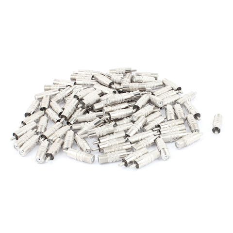 100Pcs F-Type Female to RCA Male RF Adapter Connector Coax Jack Silver Tone