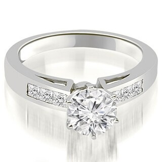 0.80 CT.TW Channel Set Princess Cut Diamond Engagement Ring - White H-I