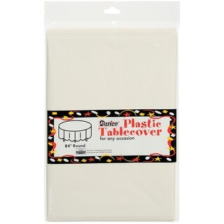 "Plastic Tablecover 84"" Round-Ivory"