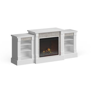 Copper Grove Marigold White Stone Electric Fireplace and Bookcases