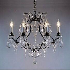 Swag Plug In Swarovski Crystal Trimmed Wrought Iron Crystal Chandelier Lighting