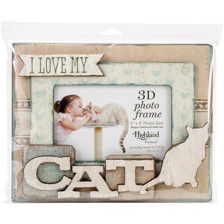 "I Love My Cat - Highland Woodcrafters 6""x4"" Wooden 3D Photo Frame"