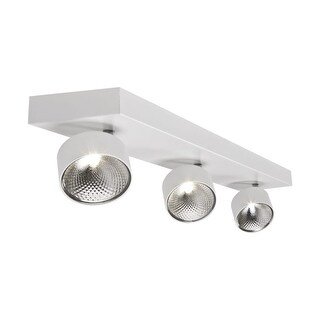 """Bazz Lighting C14191 Focus 3-Light 22"""" Wide Integrated LED Flush Mount Ceiling Fixture with White Metal Shade - n/a"""