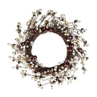 """20"""" Autumnal Bliss Ball Ornaments on a Natural Vine Wrapped Wreath - brown"""