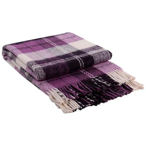 STP Goods - Elf Lilac Tartan / Plaid New Zealand Lambswool Throw