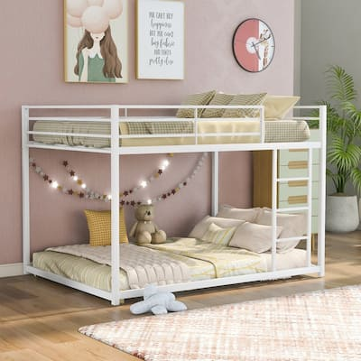 Full over Full Metal Bunk Bed, Low Bunk Bed with Ladder