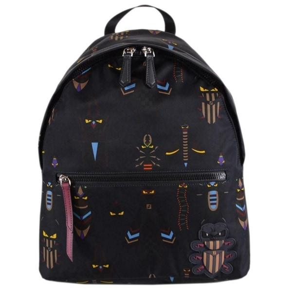 126e102a5f9 Fendi 7VZ043 Blue Nylon Zaino Santander SUPER BUGS Backpack Purse Bag -  Black/Multi