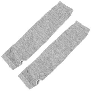 Unique Bargains Women Lady Elastic Fingerless Arm Warmers Gloves Light Gray