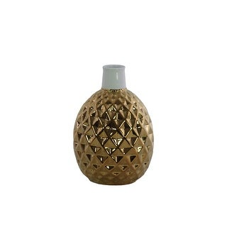 Ceramic Vase With Engraved Double Diamond Pattern, Gold And White