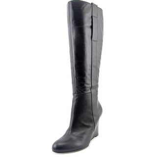 Nine West Oran Wide Calf   Round Toe Leather  Knee High Boot