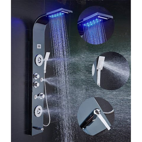 55 in. LED Shower Panel Tower System and Tub Spout in Brushed Black