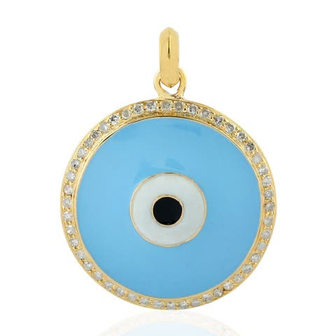 18Kt Gold Diamond Pendants Enamel Jewelry with Jewelry Box