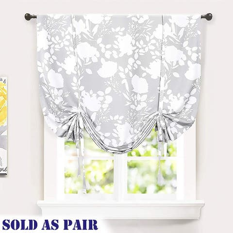 DriftAway Floral Delight Sketch Tie Up Shade Pair - 45'' Width X 63'' Length