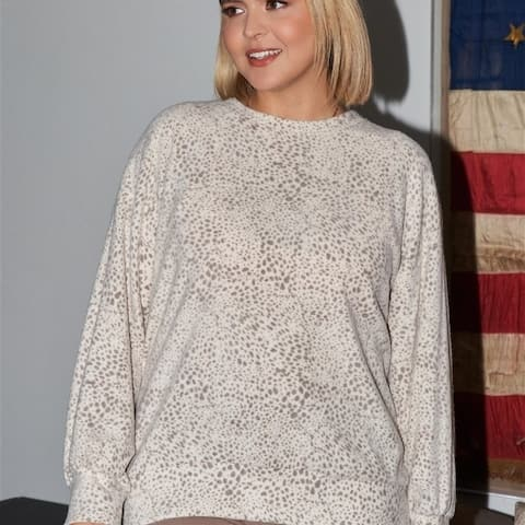 Plus Size Ivory & Brown Dotted Print Super Soft Sweatshirt