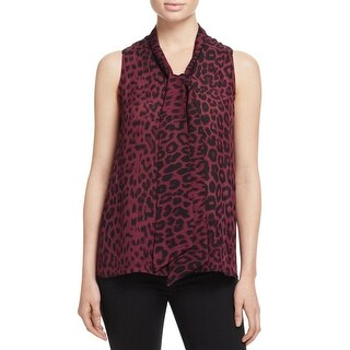 Parker Womens Pullover Top Leopard Print Silk