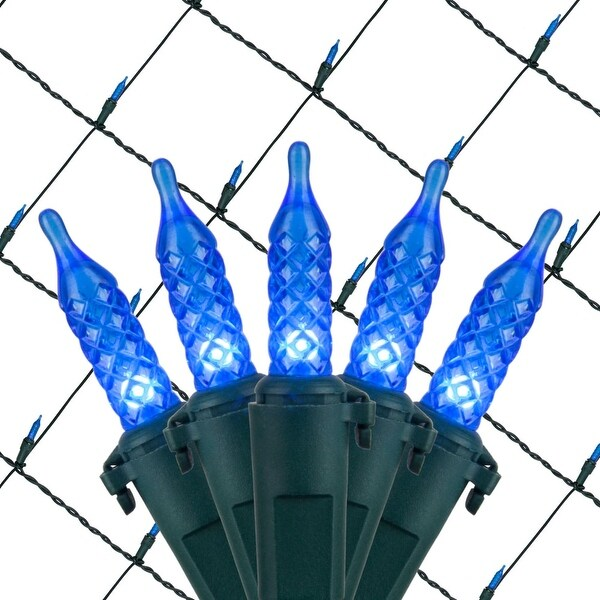 Wintergreen Lighting 72498 100 Bulb 4Ft x 6 Ft LED Decorative Holiday Net Light with Green Wire - BLue - N/A