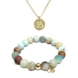 "Julieta Jewelry Set 10mm Green Amazonite Emma 7"" Stretch Bracelet & 10mm Om Charm 16"" 14k Over .925 SS Necklace"