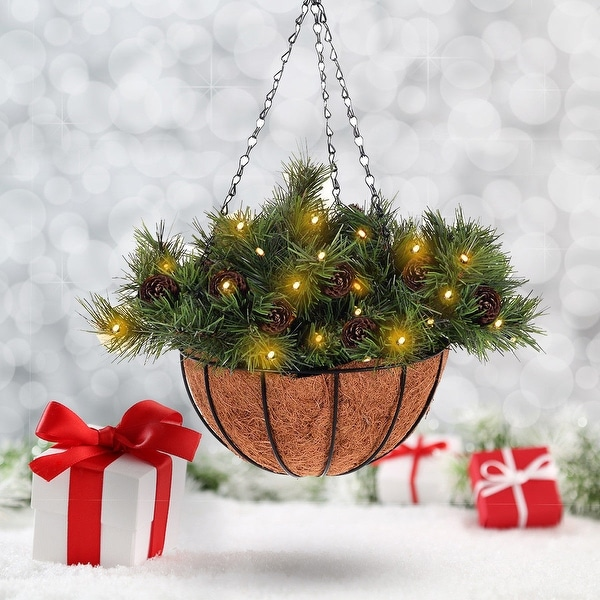 Costway 12-inch Hanging Basket Christmas Decor Battery-operated LED Lights & Pine Cones - Green