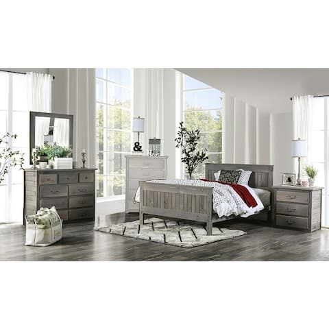 4 Piece Bedroom Set with Dresser and Nightstand in Weathered Gray