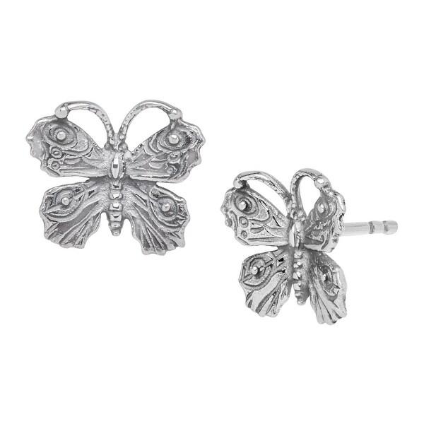 Van Kempen Art Nouveau Butterfly Earrings in Sterling Silver - White