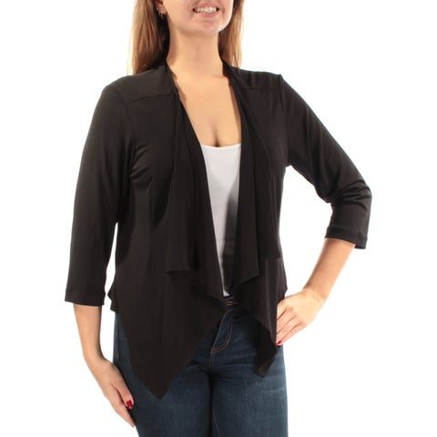 CONNECTED Black 3/4 Sleeve Open Cardigan Top Petites Size: S