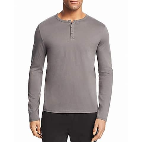 ATM Mens Shirt Gray Size Large L Henley Long Sleeve Stretch Solid