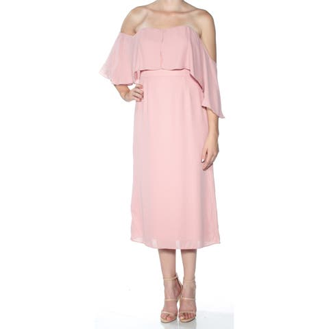 FAME AND PARTNERS Womens Pink Short Sleeve Off Shoulder Tea-Length Fit + Flare Formal Dress Size: 6