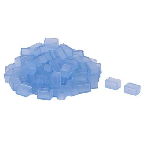19mm x 11mm x 12mm Rubber LED Strip Light End Cap Cover Sky Blue 100 PCS