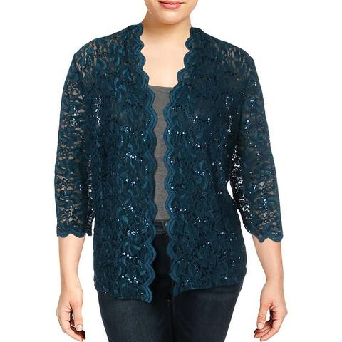Alex Evenings Womens Plus Cardigan Top Lace Sequined