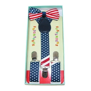 CTM® Infants' or Kids' American Flag Bow Tie and Suspender Set - Multi-Color - One Size