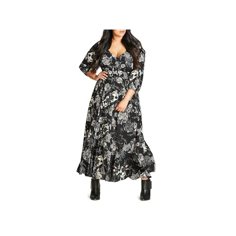 City Chic Womens Maxi Dress Bishop Sleeves Chiffon - 20