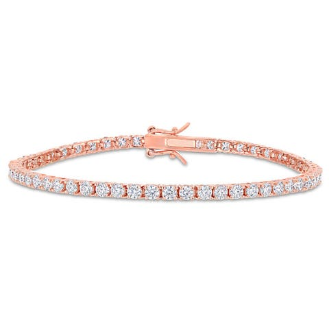 Miadora 5 5/8ct TGW Created Moissanite Tennis Bracelet in Rose Plated Sterling Silver