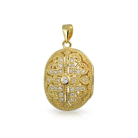 Vintage Style Oval Heart Locket Pendant Filigree Cubic Zirconia CZ Necklace for Women 14K Gold Plated Sterling Silver