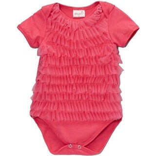 Wenchoice Baby Girls Hot Pink Chiffon Ruffles Short Sleeve Bodysuit