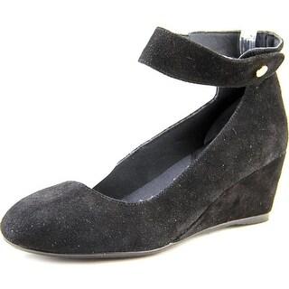 J. Renee Melenne Women  Open Toe Suede Black Wedge Heel