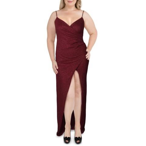 Emerald Sundae Womens Evening Dress Glitter High Slit - Burgundy