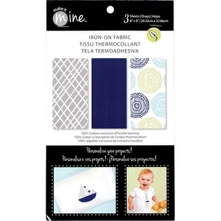 """Iron-On Fabric Sheets 8""""X9"""" 3/Pkg-Cool"""