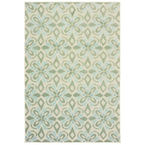 Perryville Floral Panel Mixed Pile Indoor/ Outdoor Area Rug by Havenside Home