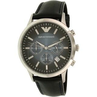 Emporio Armani Men's Classic AR2473 Blue Leather Analog Quartz Fashion Watch