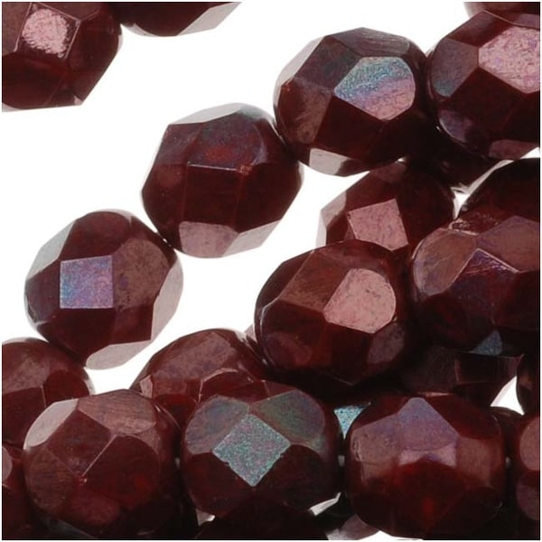 Czech Fire Polished Glass Beads 6mm Round 'Burgundy Iris' (25)