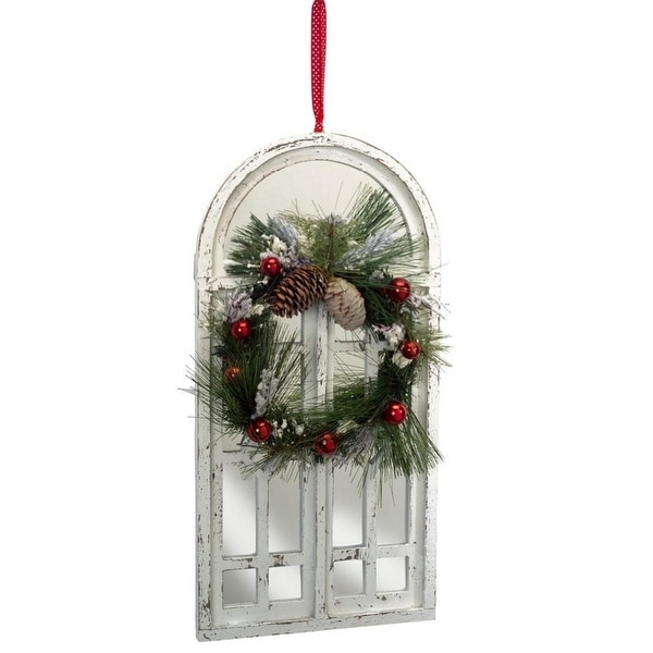 "20"" Distressed White Mirrored Window with Pine Cones Christmas Wreath Decoration"