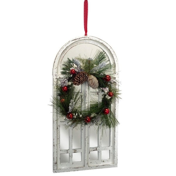 "20"" Distressed White Mirrored Window with Christmas Wreath Hanging Decoration"