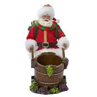 "10"" White and Red Santa/Wine Decorative Christmas Themed Bottle Holder Barrel"