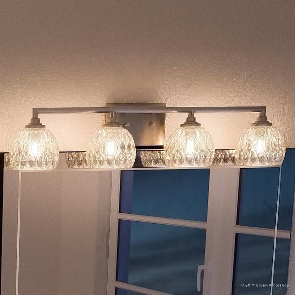 Luxury Crystal Bathroom Vanity Light 6 25 H X 28 W With Clic Style Brushed Nickel Finish