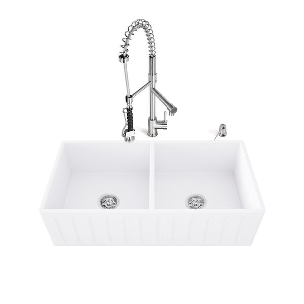 "Vigo VG15467 33"" Double Basin Farmhouse Kitchen Sink with High-Arch Pre-Rinse Faucet, Soap Dispenser, Cutting Board, and Basket"