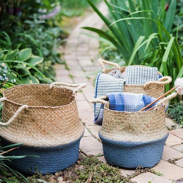 RusticReach Straw Basket Pop Up Belly Basket